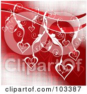 Royalty Free RF Clipart Illustration Of White Floral Vines And Hearts Over Red And White Halftone by MilsiArt