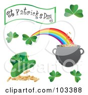 Royalty Free RF Clipart Illustration Of A Digital Collage Of St Patricks Day Icons by MilsiArt