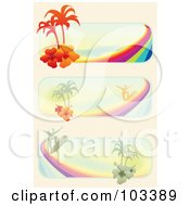 Igital Collage Of Tropical Surf Website Banners