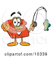 Clipart Picture Of A Red Telephone Mascot Cartoon Character Holding A Fish On A Fishing Pole