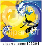 Silhouetted Surfer Riding A Big Blue Wave On Orange Halftone