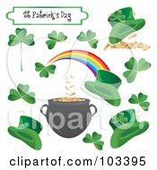 Digital Collage Of St Patricks Day Clovers Gold And Hats