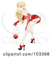 Royalty Free RF Clipart Illustration Of A Sexy Pinup Christmas Girl Bending Over And Holding A Bauble by MilsiArt