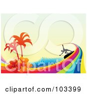 Royalty Free RF Clipart Illustration Of A Silhouetted Surfer Riding A Rainbow Wave With Hibiscus Flowers Palm Tree And Halftone On Beige