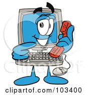 Royalty Free RF Clipart Illustration Of A Friendly Computer Guy Pointing To A Red Phone