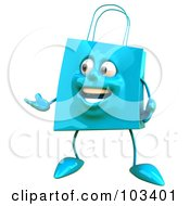 Royalty Free RF Clipart Illustration Of A 3d Blue Shopping Bag Character Glancing And Gesturing