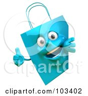Royalty Free RF Clipart Illustration Of A 3d Blue Shopping Bag Character Holding A Thumb Up Around A Sign