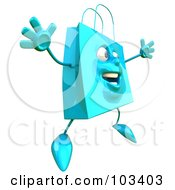 Royalty Free RF Clipart Illustration Of A 3d Blue Shopping Bag Character Jumping