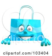 Royalty Free RF Clipart Illustration Of A 3d Blue Shopping Bag Character Smiling Over A Sign