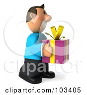 Royalty Free RF Clipart Illustration Of A 3d Casual Man Facing Right With A Purple Present