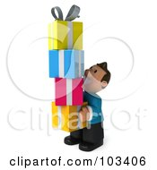 Royalty Free RF Clipart Illustration Of A 3d Casual Man Carrying A Stack Of Gifts