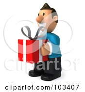 Royalty Free RF Clipart Illustration Of A 3d Casual Man Facing Left With A Red Present