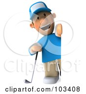 Royalty Free RF Clipart Illustration Of A 3d Golfer Toon Guy Smiling Around A Blank Sign
