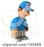 Royalty Free RF Clipart Illustration Of A 3d Golfer Toon Guy Facing Right And Pouting