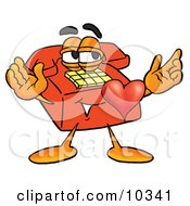 Red Telephone Mascot Cartoon Character With His Heart Beating Out Of His Chest