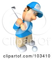 Royalty Free RF Clipart Illustration Of A 3d Golfer Toon Guy Facing Right And Swinging A Club