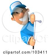 Royalty Free RF Clipart Illustration Of A 3d Golfer Toon Guy Smiling Around A Sign
