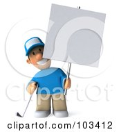 Royalty Free RF Clipart Illustration Of A 3d Golfer Toon Guy Holding A Blank Sign On A Pole