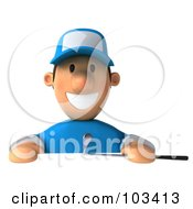 Royalty Free RF Clipart Illustration Of A 3d Golfer Toon Guy Smiling Over A Blank Sign