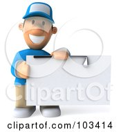 Royalty Free RF Clipart Illustration Of A 3d Golfer Toon Guy Holding A Club Over A Blank Sign