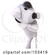 Royalty Free RF Clipart Illustration Of A 3d Bull Terrier Dog Looking Around A Blank Sign by Julos