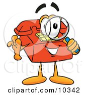 Clipart Picture Of A Red Telephone Mascot Cartoon Character Looking Through A Magnifying Glass