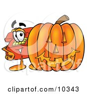 Clipart Picture Of A Red Telephone Mascot Cartoon Character With A Carved Halloween Pumpkin