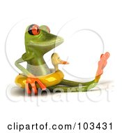 Royalty Free RF Clipart Illustration Of A 3d Springer Frog Sitting In A Duck Floatie