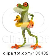Royalty Free RF Clipart Illustration Of A 3d Springer Frog Walking In A Duck Floatie
