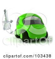 Royalty Free RF Clipart Illustration Of A 3d Ignition Key Running After A Green Car