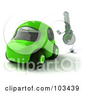 Royalty Free RF Clipart Illustration Of A 3d Ignition Key Chasing A Green Car