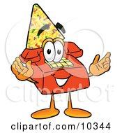 Clipart Picture Of A Red Telephone Mascot Cartoon Character Wearing A Birthday Party Hat by Toons4Biz