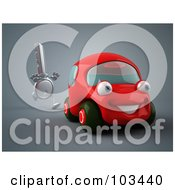 Royalty Free RF Clipart Illustration Of A 3d Ignition Key Running After A Red Car