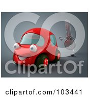 Royalty Free RF Clipart Illustration Of A 3d Ignition Key Chasing A Red Car
