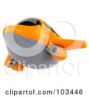 Royalty Free RF Clipart Illustration Of A 3d Orange And Gray Airplane Flying Left