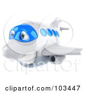 Royalty Free RF Clipart Illustration Of A 3d White And Blue Airplane Character Flying Left
