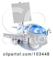 Royalty Free RF Clipart Illustration Of A 3d White And Blue Airplane Character Flying Right With A Blank Sign