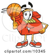 Clipart Picture Of A Red Telephone Mascot Cartoon Character Spinning A Basketball On His Finger by Toons4Biz