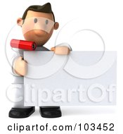 Royalty Free RF Clipart Illustration Of A 3d Toon Guy House Painter Holding Up A Blank Card