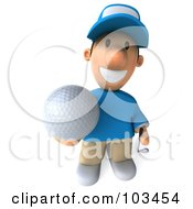 Royalty Free RF Clipart Illustration Of A 3d Golfer Toon Guy Holding A Ball