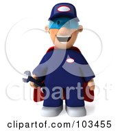 Royalty Free RF Clipart Illustration Of A 3d Toon Guy Auto Mechanic Super Hero Facing Front And Holding A Wrench