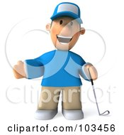 Royalty Free RF Clipart Illustration Of A 3d Golfer Toon Guy Holding One Arm Out