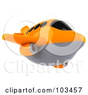 Royalty Free RF Clipart Illustration Of A 3d Orange And Gray Airplane Flying Right