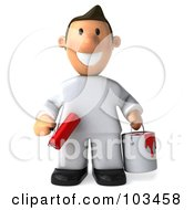Royalty Free RF Clipart Illustration Of A 3d Toon Guy House Painter Facing Front With A Bucket And Roller Brush