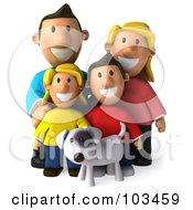 3d Happy Caucasian Family Standing With Their Dog