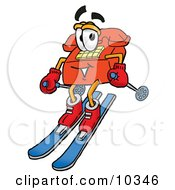 Clipart Picture Of A Red Telephone Mascot Cartoon Character Skiing Downhill by Toons4Biz