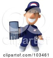 Royalty Free RF Clipart Illustration Of A 3d Toon Guy Auto Mechanic Holding Out A Cell Phone