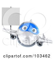 3d White And Blue Airplane Character Flying Forward With A Blank Sign
