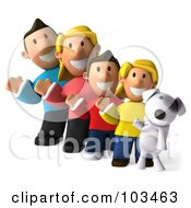 Royalty Free RF Clipart Illustration Of A 3d Happy Caucasian Family And Their Dog Waving
