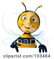 Royalty Free RF Clipart Illustration Of A 3d Bee Character Pointing Down At A Sign by Julos